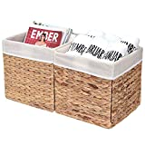 "StorageWorks Water Hyacinth Storage Baskets, Rectangle Wicker Storage Baskets, Basket Storage Cubes, Medium,10.2""x10.2""x10.6"", 2-Pack, Extra - Gift Lining"