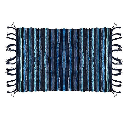 - Ojia Cotton Reversible Rag Rug Hand Woven Multi Color Striped Chindi Area Rug Entryway for Laundry Room Kitchen Bathroom Bedroom Dorm(4 x 6ft,Blue)