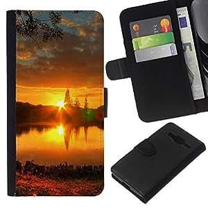 All Phone Most Case / Oferta Especial Cáscara Funda de cuero Monedero Cubierta de proteccion Caso / Wallet Case for Samsung Galaxy Core Prime // Sunset Beautiful Nature 57