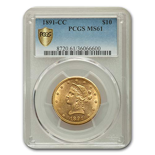 1891 CC $10 Liberty Gold Eagle MS-61 PCGS G$10 MS-61 PCGS