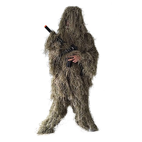BESTHUNTINER Ghillie Suit, Field Camouflage Clothing, Army Sniper Military Clothes and Trousers for Jungle Hunting, Shooting, Airsoft, Wildlife Photography or Halloween, 5 Pieces, XL/XXL