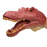 Geminismart Spinosaurus Dinosaur Hand Puppets Large Soft Rubber Realistic Funny & Scared Dino Head Hand Puppets Home, Stage and Class Role Play Toy for Kids and Toddlers