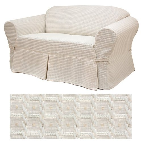 Basket Champagne Furniture Slipcover Loveseat 604 by SlipcoverShop (Image #3)