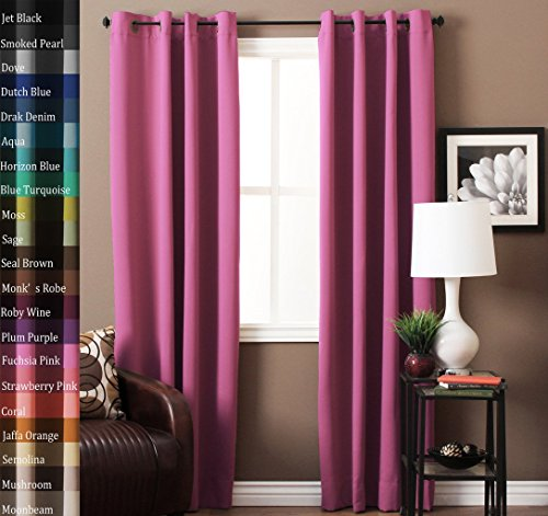 Turquoize Pair2 Panels Solid Blackout Drapes Fuchsia Pink Curtains Themal Insulated Grommet Eyelet Top Nursery Girls Room Each Panel
