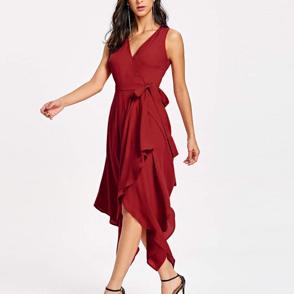 GONKOMA Womens Summer Party Dress Solid V-Neck Sleeveless Asymmetry Hem Dress Bohemian Long Maxi Dress