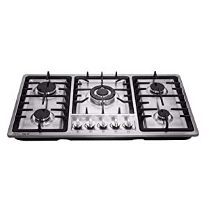 Deli-kit DK258-B01 34 inch Gas Cooktops gas hob stovetop 5 burners LPG/NG Dual Fuel 5 Sealed Burners brass burner Stainless Steelr Built-In gas hob 110V AC pulse ignition gas stove
