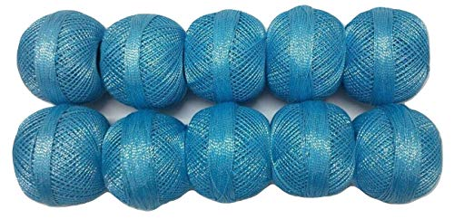 Light Sky Blue with Silver - Set LOT of 10 Pcs - Cotton Lurex Zari Jari Yarn Shiny Thread - Crochet Lace Knitting Embroidery DIY Projects - DESI HAWKER