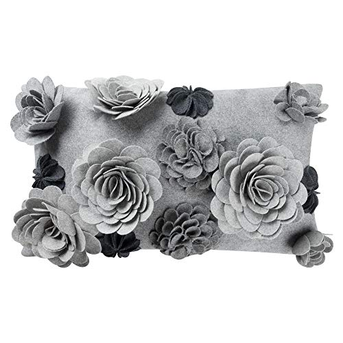 KingRose Handmade 3D Flowers Decorative Throw Pillow Cover Solid Wool Cushion Case for Home Bed Living Room 12 x 20 Inches Gray