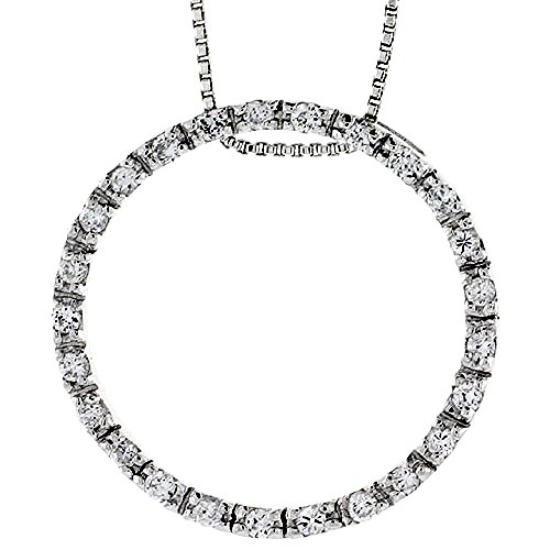 Sterling Silver Circle of Life Pendant Slide w CZ Stones, 1 3 16 inch 29 mm tall