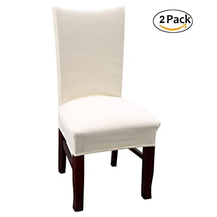 Ordinaire Velvet Dinning Room Chair Covers High Back Stetch Dining Chair Slipcovers,  Beige Set Of 2