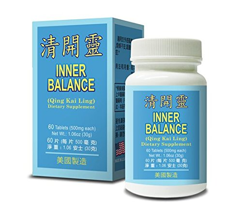 Tab Throat Sore 60 (Inner Balance Qing Kai Ling Herbal Supplement Helps For Promote The Body's Natural Balance & Bell Being, Cold Fever Sore Throat Bronchitis Body Heat Detox 500mg 60 Tablets Made In USA)
