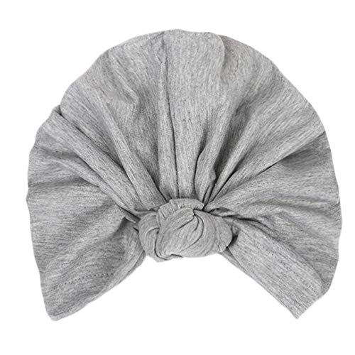 (Women's Knotted Turban Hat Hair Loss Head Wrap Cap Chemo Cap Cancer Cap Fashion Slouchy Hats for Women Gray)
