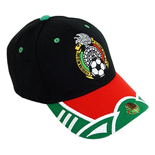 Mexico Soccer Team Embroidery Hat World Cup Football el fútbol Baseball Cap (Black)