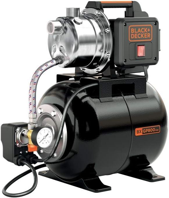 Black+Decker BXGP800XBE Bomba Autoaspirante con Caldera para Aguas Limpias (800 W, Caudal max. 3.500 l/h, Prevalencia max. 38 m)