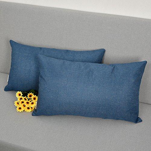 Natus Weaver Decoration Linen Burlap Decor Lumbar Throw Cushion Cover Pillow Sham for Sofa , Navy ,1 pair , 12 x 20 Inches