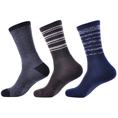 (SOLAX 3 Pairs Men's Hiking Athletic Socks Merino Wool Sport Crew Sock (Size for 9-12.5 ASST1))