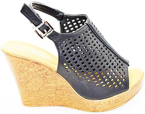 Dev Kvinners Flerfarge Rhinestone Roman Gladiator Sandal Flat Titte Toe Sko Svart-2-