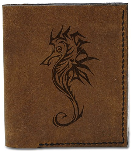 Handmade Tribal 5 Men's Genuine 04 Seahorse MHLT Wallet Seahorse Natural Leather b Tattoo Tattoo ggxEzfR