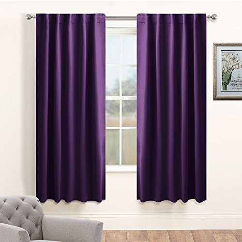Living Room Blackout Curtain Panels - PONY DANCE Window Treatments Thermal Insulated Back Tab & Rod Pocket Curtains Window Coverings Drapes for Kids' Room, 42