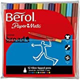 Berol Colour Broad Fibre Tipped Pen - Assorted Colours, Pack of 12