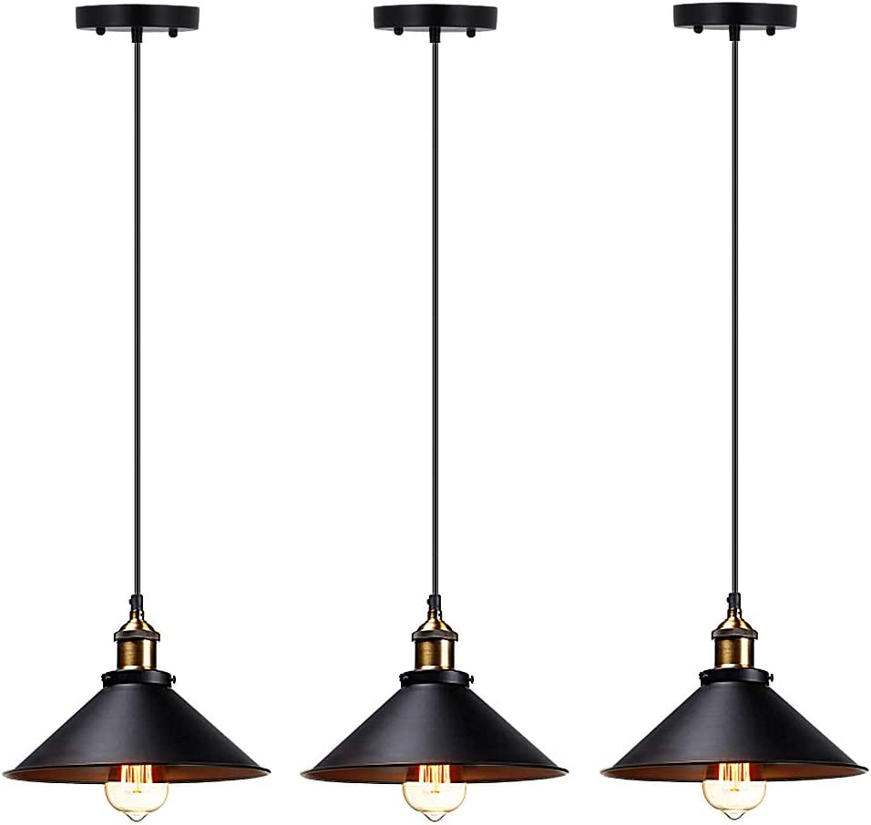 T A Industrial Edison Kitchen Pendant Light 3-Pack Antique Brass Hanging Lighting Fixture for Dining Room Restaurant Bar Black