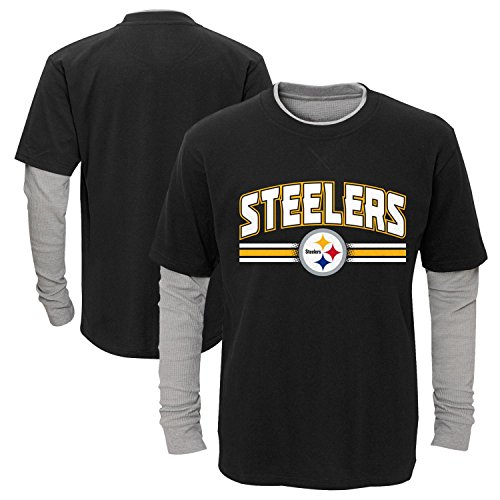 """Pittsburgh Steelers Youth NFL """"Bleachers"""" L/S Faux Layer Thermal Shirt"""