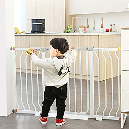 Baby Gates Extra-Wide Baby Gates for Stairs Kitchen Bedroom, Pressure Mounts Metal Dog Gate with Cat Door, 125-132cm Wide, White