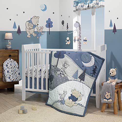 Lambs & Ivy Forever Pooh 3Piece Baby Crib Bedding Set, Blue (Bedding Set For Baby Boy Crib)
