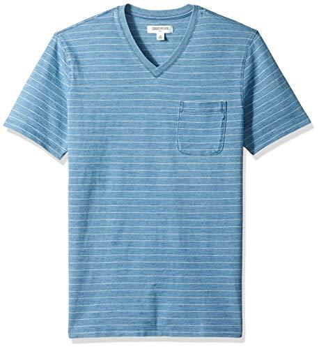 (Goodthreads Men's Short-Sleeve Indigo V-Neck Pocket T-Shirt, Light Narrow Stripe, X-Large)