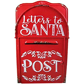 Wowser Distressed Hand Painted Red Metal Letters to Santa Mail Post Box, 15 1/4 Inch