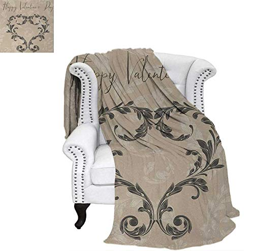 Warm Microfiber All Season Blanket for Bed or Couch Happy Love Valentines Day Stylized Hand Writing Laurel Leaves Forming Heart Victorian Throw Blanket 70