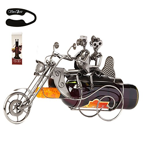Couple On A Motorcycle ,Bike Sculpture and Figurine Decor & Vintage Wine Rack and Table Top Stand Gifts Decoration with a Wine Bottle Vacuum Stopper and Foil Cutter