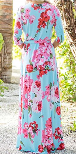 Evening Sundress Dress Neck Party Floral Jaycargogo Maxi Dresses 6 Dress Women's Maxi Boho V Beach wI8qOC