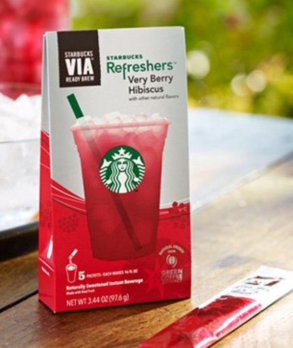 Starbucks VIA RefreshersTM Very Berry Hibiscus (3 Pack/Boxes) 15 Packets Total