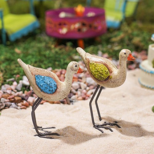 Pair of Miniature Resin and Metal Standing Shore Birds for Fairy Gardens, Crafting and Embellishing