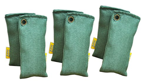 Activated Charcoal- Air Purifying Bags, Shoe Deodorizer and Air freshener (50g/2pc x 3 pack, Green) (50g Bag)