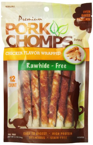 Scott Pet Products Pork Chomps Premium 12 Count 5-Inch Twist with Chicken for Dogs Mini