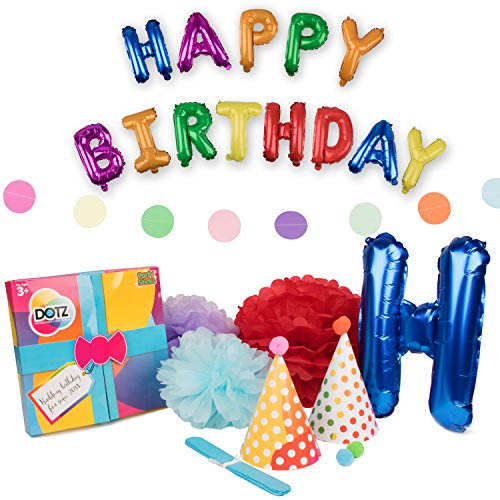 "Birthday Party Supplies – ""DOTZ"" Retro Polka Dot Birthday Party Decorations with 10 Birthday Party Hats, 8 Pompoms, 2 Banners and Happy Birthday Letter Balloons"