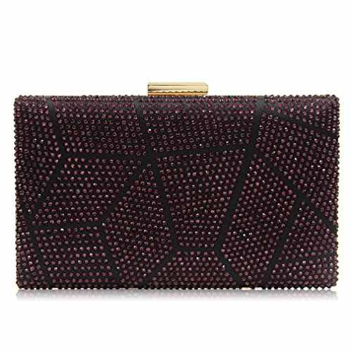 Evening Bags Women Female Bag Ladies Crystal Wedding Clutch Bag Party Both Sides Purple Red