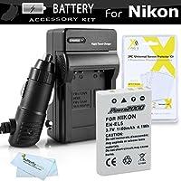 Kit de batería y cargador para Nikon P100 P500 P510 P520 P530 Cámara digital incluye reemplazo extendido (1100 Mah) Batería Nikon EN-EL5 + cargador rápido de CA /CC + protectores de pantalla LCD + paño de limpieza