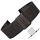 Weelovee Milanese Mesh Stainless Steel Watch Band 18mm Safety Clasp Watch Strap Wristband for Mens Women Adjustable Length,Repair Tools Included Black