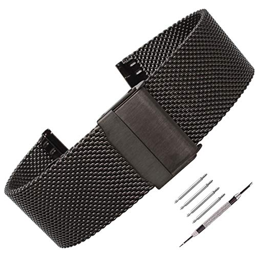 Weelovee Milanese Mesh Stainless Steel Watch Band 22mm Safety Clasp Watch Strap Wristband for Mens Women Adjustable Length,Repair Tools Included Black