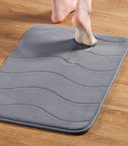 Memory Foam Coral Fleece Non Slip Bathroom Mat, Super Soft Microfiber Bath Mat Set Machine Washable Bath Rugs Set Super Absorbent Thick and Durable Bath Rugs 17W X 24L Inches (Gray Waved Pattern)