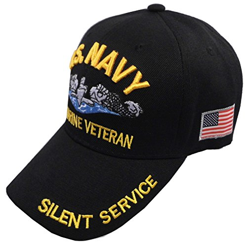 United States Navy Veteran Hat Baseball Cap (Black - Submarine) (United States Gifts)