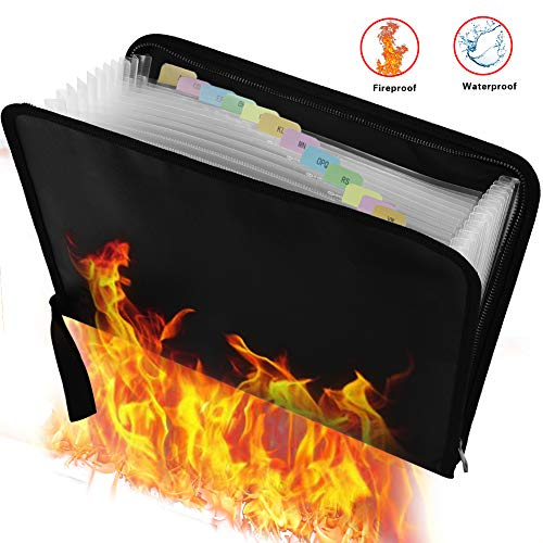 File Organizer Portable Filing Folders,Fireproof and Waterproof Expanding File Folders Money Bag with Zipper,Non-Itchy Silicone Coated Document Folder Organizer Pouch A4 Size ()