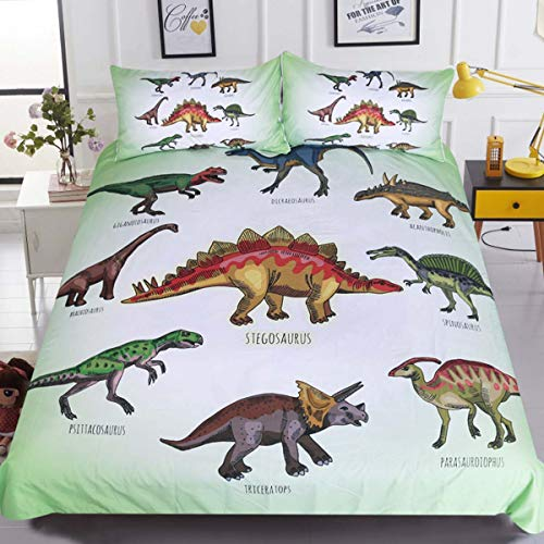 - Sleepwish Dinosaur Print Kids Boys Girls Bedding Green White Ancient Animal Duvet Cover Super Soft 3 Pieces with 2 Pillow Cases (Twin)