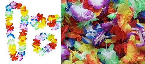 Luau Leis matching sets - 12 Flower leis, 12 Flower lei headbands and 24 leis bracelets
