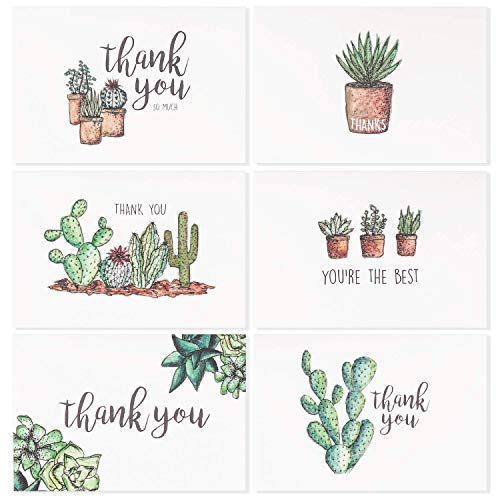 (Blank Watercolor Thank You Cards: 36 Assorted Boxed Pack - Succulent Floral Green & Black & White Card Designs: Bulk Note Box for Graduation, Wedding, Bridal Party, Baby Shower, Men & Women Sympathy)