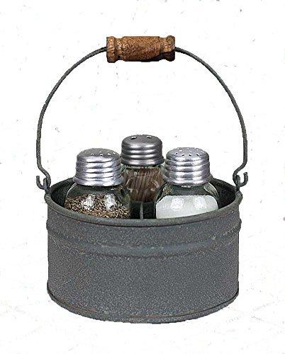 Salt Pepper Toothpick (Primitive Industrial Galvanized Bucket MASON JAR Salt Pepper & Tooth Pick Caddy)