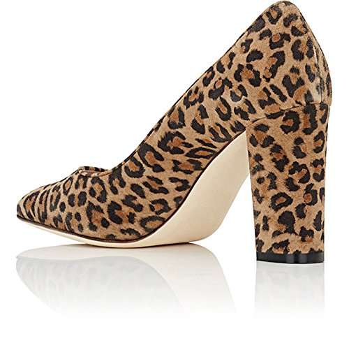 Shoes Women's Chunky Sexy Pump Heel AIWEIYi Leopard High Fashion Party 18RqRw6H
